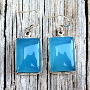 Sterling Silver Blue Chalcedony Dangle Earrings